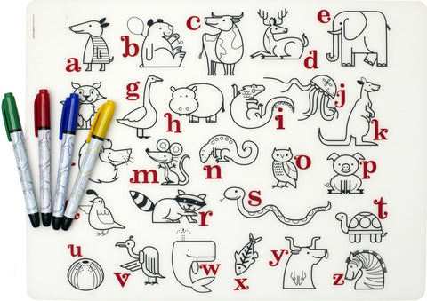 modern twist alphabet animals mark-mat set is a plastic-free non toxic silicone place washable mat and markers