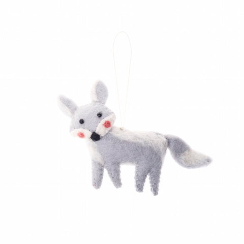 artic fox animal ornament hand felted, stuffed and stitched with care by artisans in nepal