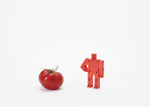 areaware red micro cubebot is a robot toy that can be assembled into countless poses and folds up into a cube