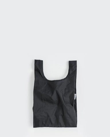 baby baggu black reusable shopping bag holds up to 50lbs. made from 40% recycled ripstop nylon