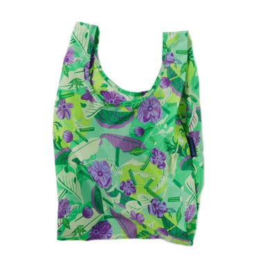 mixed greens baby baggu reusable shopping bag holds up to 50lbs. can fit over shoulder. made from 40% recycled ripstop nylon