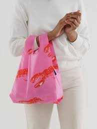 baby baggu pink lobster reusable shopping bag holds up to 50lbs. made from 40% recycled ripstop nylon