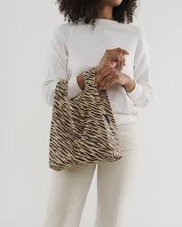 baby baggu tiger stripe reusable shopping bag holds up to 50lbs. made from 40% recycled ripstop nylon