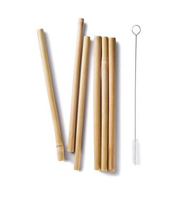 bambu bamboo straws (set of 6) including cleaning brush. made from organic bamboo