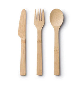 bambu bamboo spoon, knife & fork set made from organic bamboo with no glues or lacquers