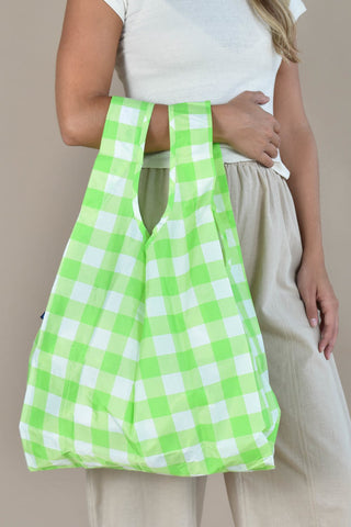 standard baggu big check lime reusable shopping bag holds up to 50lbs. made from 40% recycled ripstop nylon