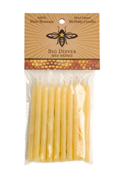 big dipper wax works natural colored birthday candles are hand dipped 100% beeswax