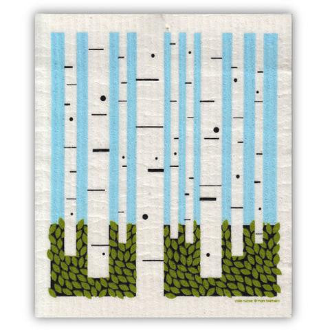 birch forest swedish dishcloth:  biodegradable & compostable dishcloth made of 70% cellulose/30% cotton & water-based inks