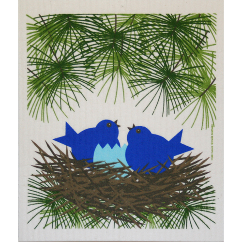 swedish dishcloth - birds in nest