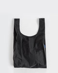 standard baggu black reusable shopping bag holds up to 50lbs. can fit over shoulder. made from 40% recycled ripstock nylon
