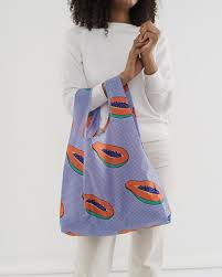 standard baggu blue papaya reusable shopping bag holds up to 50lbs. made from 40% recycled ripstop nylon