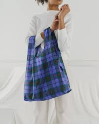 standard baggu blue tartan reusable shopping bag holds up to 50lbs. made from 40% recycled ripstop nylon