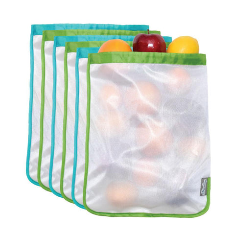 chicobag reusable mesh produce bag bachelor button (blue) allows airflow to reduce spoilage