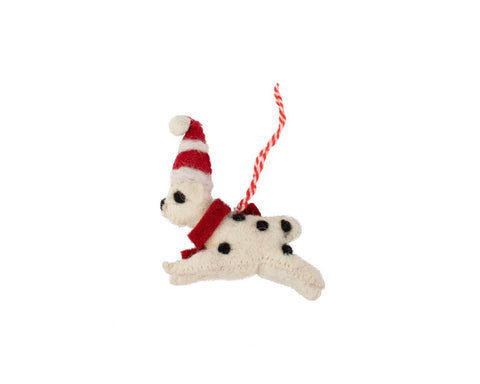 christmas puppy ornament is handcrafted from felt in india