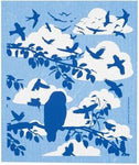 clouds and birds swedish dishcloth:  biodegradable & compostable dishcloth made of 70% cellulose/30% cotton & water-based inks