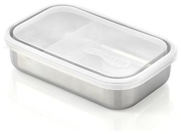clear rectangular container with divider