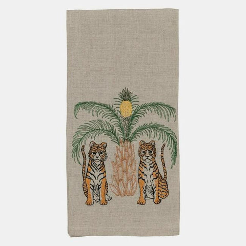 tigers with pineapple palm tree tea towel from coral & tusk with embroidery on 100% linen