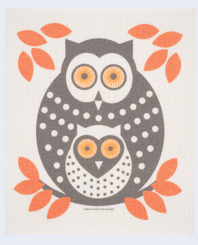 orange owl swedish dishcloth:  biodegradable & compostable dishcloth made of 70% cellulose/30% cotton & water-based inks