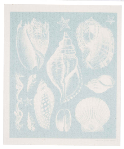 seashells swedish dishcloth: biodegradable & compostable dishcloth made of 70% cellulose/30% cotton & water-based inks