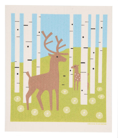 deer in forest swedish dishcloth: biodegradable & compostable dishcloth made of 70% cellulose/30% cotton & water-based inks