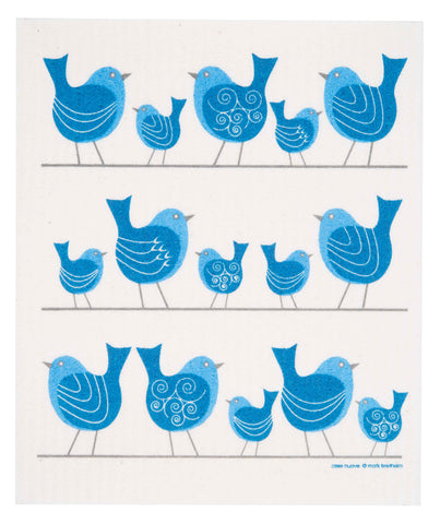 birds on a wire swedish dishcloth: biodegradable & compostable dishcloth made of 70% cellulose/30% cotton & water-based inks