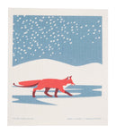 fox in the snow holiday swedish dishcloth:  biodegradable & compostable dishcloth made of 70% cellulose/30% cotton & water-based inks