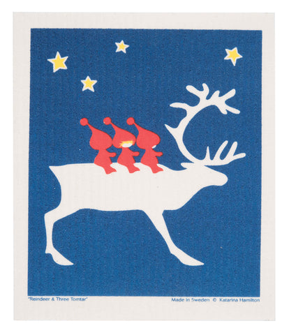 reindeer and tomte holiday swedish dishcloth:  biodegradable & compostable dishcloth made of 70% cellulose/30% cotton & water-based inks