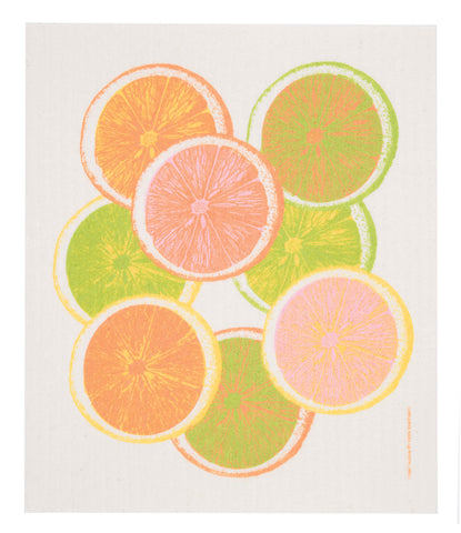 citrus slices swedish dishcloth: biodegradable & compostable dishcloth made of 70% cellulose/30% cotton & water-based inks