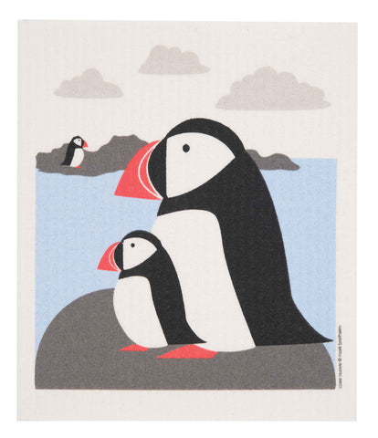 puffins swedish dishcloth: biodegradable & compostable dishcloth made of 70% cellulose/30% cotton & water-based inks