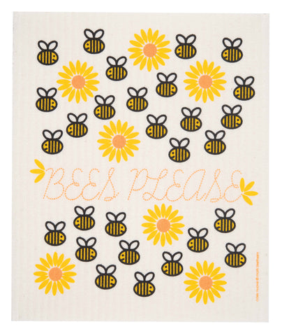 bees please swedish dishcloth:  biodegradable & compostable dishcloth made of 70% cellulose/30% cotton & water-based inks
