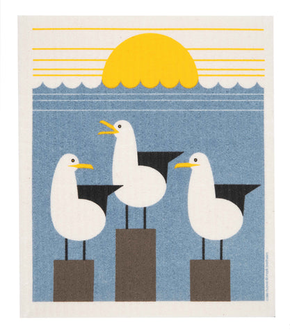 seagulls swedish dishcloth:  biodegradable & compostable dishcloth made of 70% cellulose/30% cotton & water-based inks