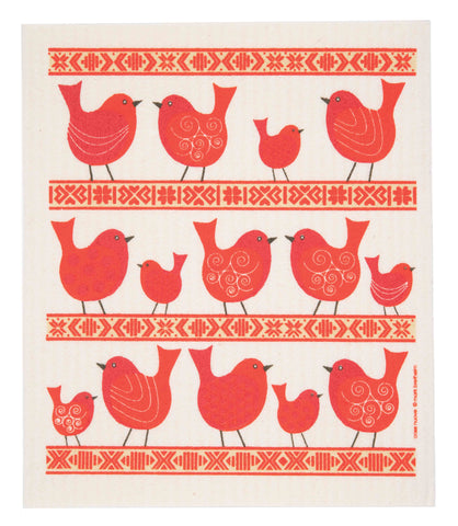 birds & folk ribbon swedish dishcloth:  biodegradable & compostable dishcloth made of 70% cellulose/30% cotton & water-based inks