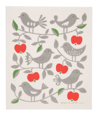 bl apples & birds swedish dishcloth:  biodegradable & compostable dishcloth made of 70% cellulose/30% cotton & water-based inks