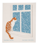 kh cat at window holiday swedish dishcloth:  biodegradable & compostable dishcloth made of 70% cellulose/30% cotton & water-based inks