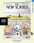 New York Puzzle Companys 1000 piece jigsaw puzzle of the New Yorker cover view of the world. Made in the USA