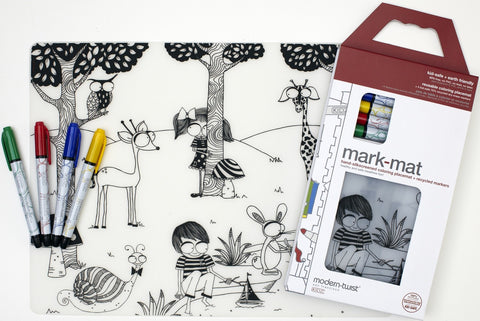 modern-twist mark-mat set: day at the pond + 3 markers is a plastic-free non toxic silicone washable place mat and markers