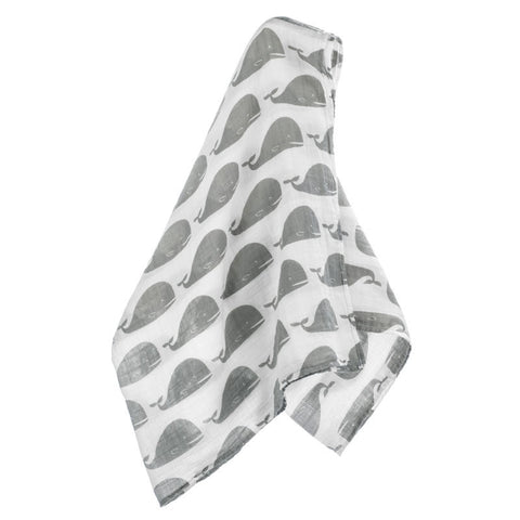 milkbarn grey whale 100% GOTS certified organic cotton swaddle or baby blanket