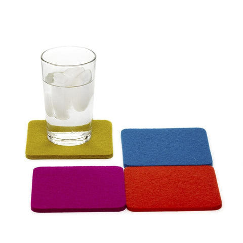 graf lantz colorful electric felted wool coasters. made in CA USA