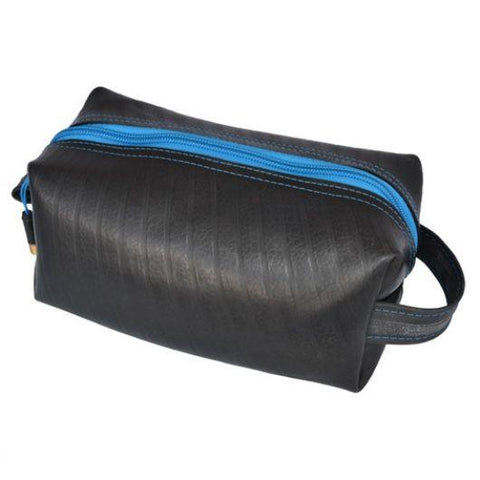 alchemy goods electric blue elliott dopp kit, the toiletry bag with a reclaimed inner tube exterior. water resistant. made USA