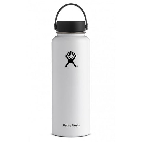 white 40 oz wide mouth hydro flask bottle keeps liquids cold for up to 24 hours and hot up to 6. bpa-free