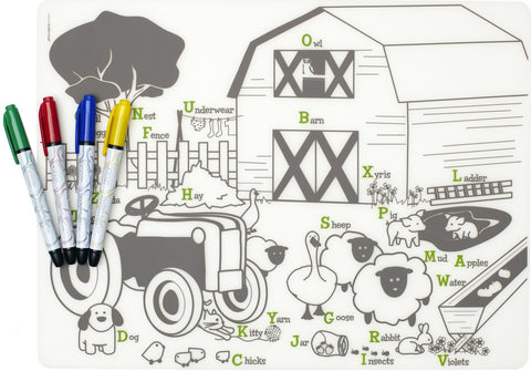 modern twist farm buddies mark-mat set is a plastic-free non toxic silicone place washable mat and markers