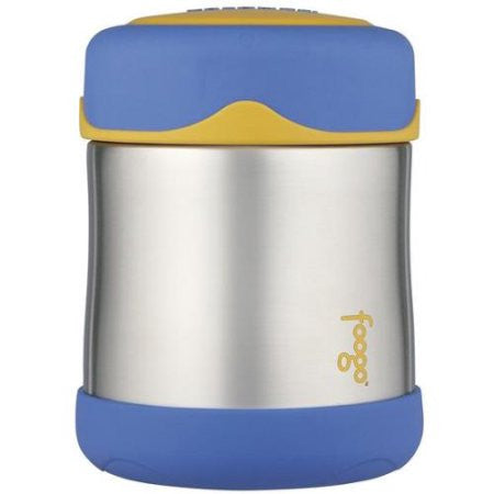 thermos foogo stainless steel food jar 10oz blue-yellow keeps food warm (5 hours) and cold (9 hours). bpa free
