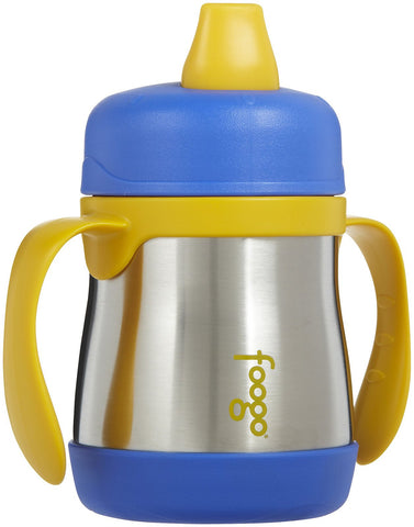 thermos foogo stainless steel sippy cub with handles 10oz blue keeps cold for 6 hours and a comfortable soft spout