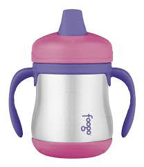 thermos foogo stainless steel sippy cub with handles 10oz pink keeps cold for 6 hours and a comfortable soft spout