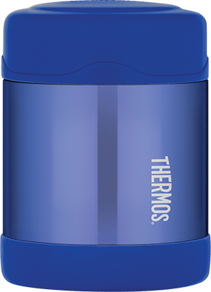 thermos funtainer stainless steel food jar 10oz blue keeps food warm (5 hours) and cold (9 hours). bpa free
