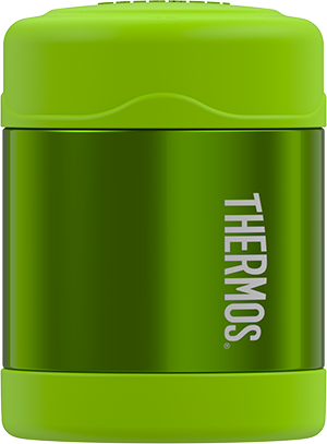 thermos funtainer stainless steel food jar 10oz lime keeps food warm (5 hours) and cold (9 hours). bpa free
