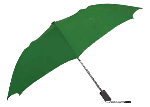 open recycled umbrella made from recycled PET #1 plastic bottles. compact with a steel wind resistant frame