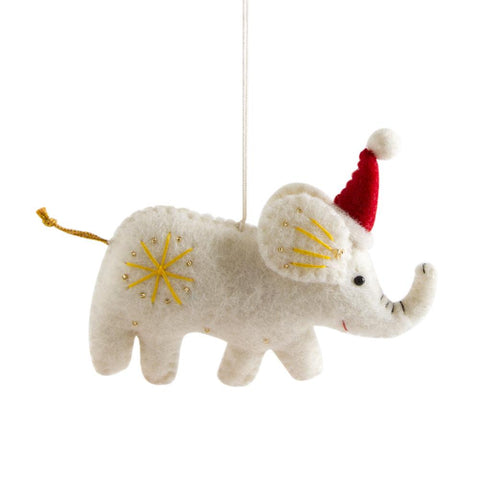 embellished felt elephant ornament made by nirjala craft in nepal
