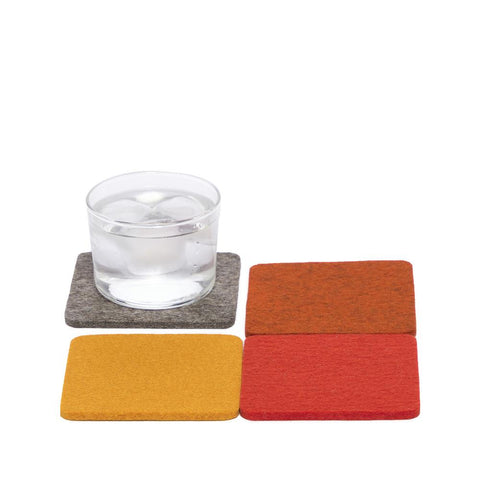 graf lantz colorful flame felted wool coasters. made in CA USA