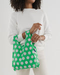 baby baggu green daisy reusable shopping bag holds up to 50lbs. made from 40% recycled ripstop nylon
